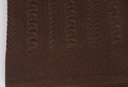 Плед вязаный Коса (шоколад)