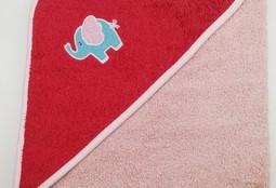 Уголок дет. махровый с вышивкой Слоненок (коралловый)
