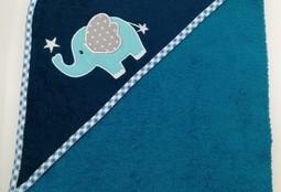 Уголок дет. махровый с вышивкой Слоненок с сердечком (сине-зеленый)